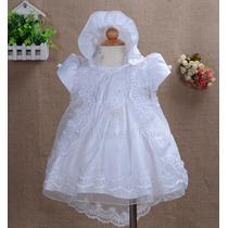 Vestido Bebê Batizado Com Touca - Pronta Entrega