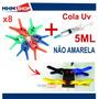 Cola Uv Para Celular + 8 Grampos Fixação Tela Vidro Lcd Touc