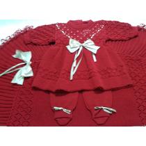 Saída Maternidade Manta Vestido Inverno Tricot Mangas Crochê