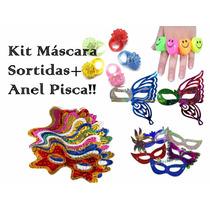 Kit C/ 120 Máscara Holográfica + 60 Anel Pisca