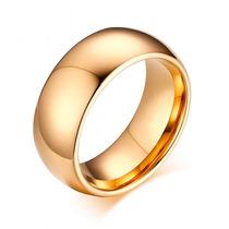 Aliança Tungstênio Grossa Dourada Banhada Ouro 18k Lisa