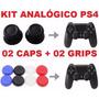 Kit Botão Caps + Grip Borracha De Silicone P/ Analógico Ps4