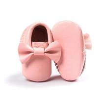 Sapato Bebê Laço E Franjas Rosa Claro - Importado
