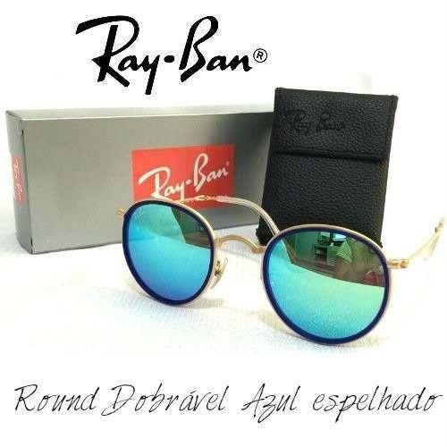 ab6bb997946ac Ray Ban Round Dobrável 3517 Azul Espelhado R 260 izZRL - Precio D Brasil