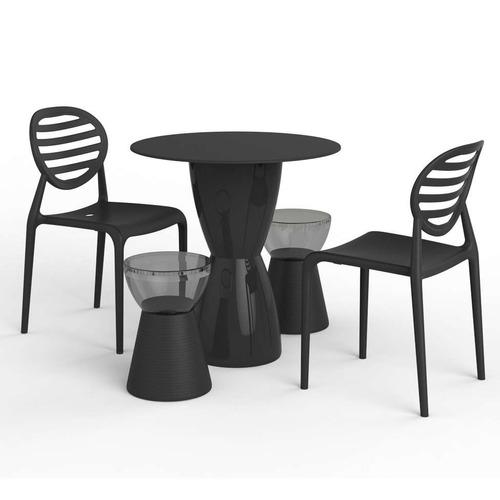Conjunto De Mesa Com 2 Cadeiras E 2 Bancos Lounge Preto