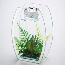Castiçal Porta Vela Espelhado Com Plantas Artificiais - 2870