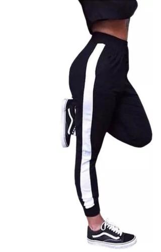 Calça Feminina Jogger Listrada Crepe Outono Inverno Promoçao