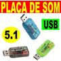 Placa De Som 5.1 Usb 3d Adaptador Audio - Frete Grátis !