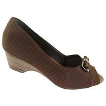 Sapato Peep Toe Usaflex Salto 5 Cm Couro Clickbacanas-n1002