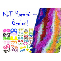 Kit Festa - 15 Marabú Pluma C/ Brilho + 15 Óculos