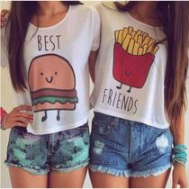 Camiseta Baby Look Best Friend 2 Unidades