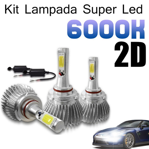 Kit Lampada Super Led Novo 2d 6000k Carro Alta Baixa 12v 24v