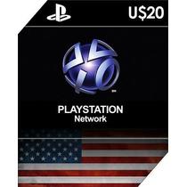 Playstation Network Psn Card $20 Cartão Ps3 Ps4 Vita