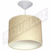 Luminária Pendente Cilindrica Em Algodão Natural 30cm