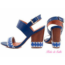 Sandália Azul Com Salto Trançado