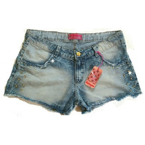 Shorts Jeans Customizado Pérolas E Strass Plus Size Grande