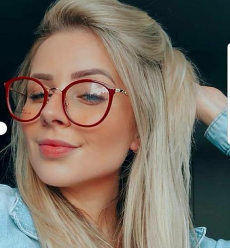 bcd3a95f7 Óculos Sem Grau Importado De Oncinha Redondo Estiloso Retro