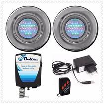 Kit Iluminação Para Piscina 2 Refletores 25 Leds + Comando