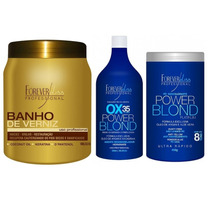 Forever Liss ! Banho Verniz + Kit Descolorante Pó Azul Bb
