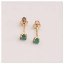 Brincos Recém Nascidos Pedra Esmeralda Joia Ouro 18k
