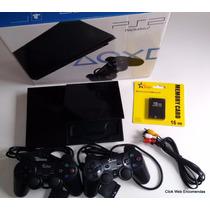 Playstation 2 Slim Semi-novo Desb. Completo+6 Meses Garantia