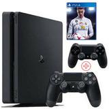 Playstation 4 Slim Sony 1tb Ps4 Bivolt 2 Controles Fifa 18