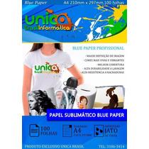 Papel Sublimático Transfer Blue Paper Fundo Azul - 100 Fls
