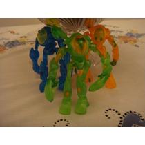 3 Bonecos Brinquedo Robos Transparentes Articulados