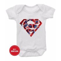 Body Infantil Bebê Superman Super Homem Super Heróis Bories
