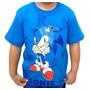 Camiseta Camisa Manga Curta Infantil Sonic Algodão Original