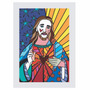 Quadro Releitura Romero Britto - Jesus(45x65cm) Mold.branca