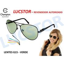 Óculos De Sol Champion Troca Haste Aviador Preto E Nf