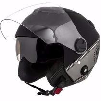 Capacete Moto New Atomic Skull Riders Protork Prata + Brinde