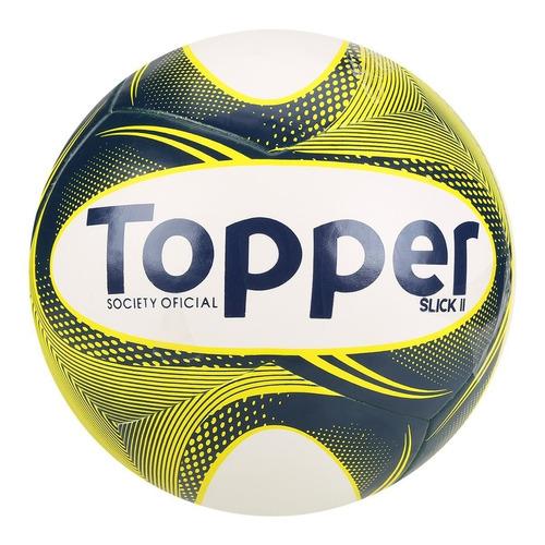 Bola Futebol Society Topper Slick Ii - Branco Azul E Amarelo 35cf367fdb297