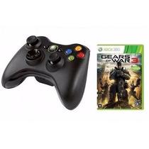 Controle Xbox 360 Wireless Sem Fio Oficial Microsoft + Jogo
