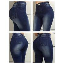 Calça Cós Alto Jeans Com Elastano