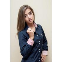 Camisa Social Feminina -dortmund- Manga Longa - Azul Marinho