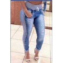Kit 3 Calças Jeans Feminina C/ Moletom Moda Inverno - 3f36