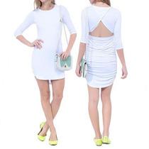 Vestido Branco Sommer Sexy Justo Mangas Decote Costas Básico