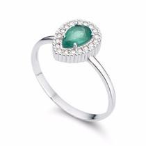 Anel Em Ouro 18k Com Esmeralda E Diamantes - Cwb Joias