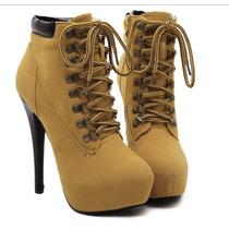 Sapato De Inverno Salto Alto Almond Toe Feminino Bordado Ank