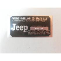 Plaqueta (placa) Numero Motor Jeep Rural F75 Willys