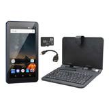 Tablet Azul 16gb M7s Plus Quad Core Capa Com Teclado Cabo Otg Cartão 32gb Multilaser 16gb - 1gb Ram Android Oreo Go 8.1