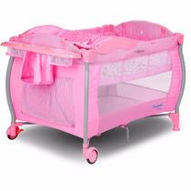 Berço Portatil Nanna Pink Check - Burigotto Desmontavel Rosa