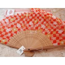 Leque De Bambu Em Tecido Estampa Flor De Cerejeira+capa 23cm