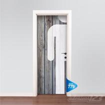 Adesivo 123 Porta Banheiro Masculino Madeira Icone Mod 779