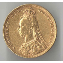 Inglaterra 1 Libra 1889 Letra M Melborne 7,98 Gr Ouro 916