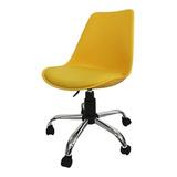 Cadeira De Escritório Pelegrin C032a Amarelo Con Estofado Do Couro Sintético