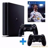 Playstation 4 Slim Sony 1tb Ps4 Bivolt 2 Controles Fifa 18