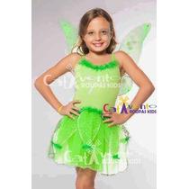 Fantasia Menina Fada Tinker Bell Sininho Infantil T.01 Ao 12